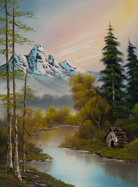 Боб Росс.  Подножье горы. живопись.