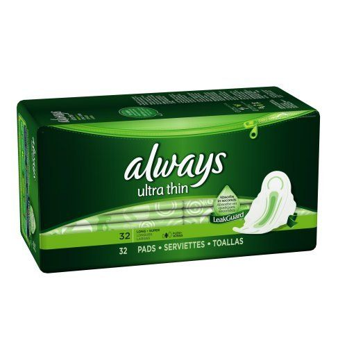 Ultra Long/Super with Wings, Unscented Thin Pads 32 Count (Pack of 3) by Always. $22.97. From the Manufacturer      Always Ultra Thin pads with Flexi-Wings flex as you move, helping them to stay put for great protection against leaks. Our Dri-Weave™ Cover provides a soft, dry protection and the LeakGuard™ Core plus Barriers pull fluid deep into the core and away from the edges. If you are looking for additional protection, try our Always Ultra Thin Overnight!          Feature...