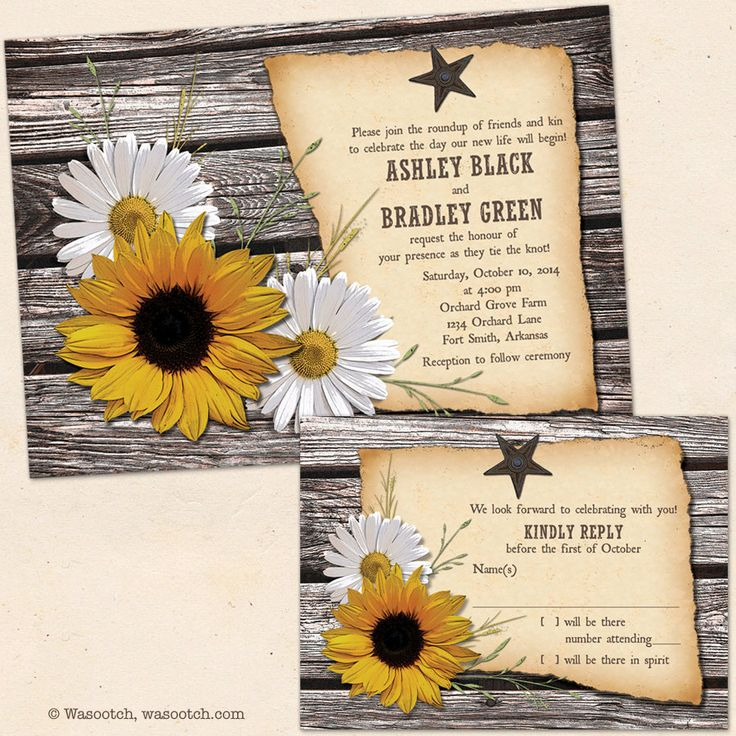 sunflower wedding invitations printable%0A Rustic Wedding Country Wood Sunflower Daisy Barn Wedding Invitation and  RSVP Reply Card Printed