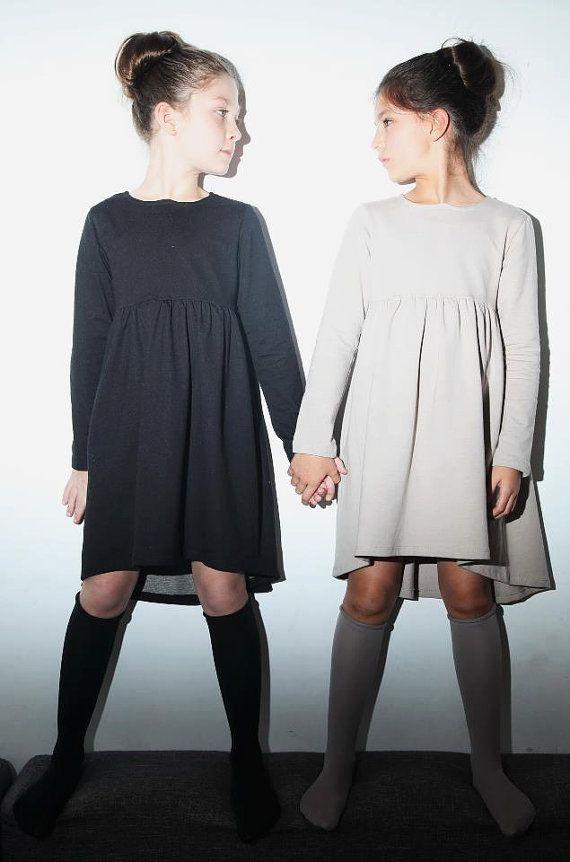 Girl's black dress minimalist black dress for girls  by 22shtaim,