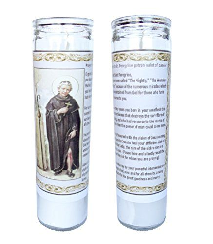 St Peregrine Patron Saint of Cancer Victims Set of 2 Candles with Prayer in the Back:   St Peregrine Patron Saint of Cancer Victims Set of 2 Candles with Prayer in the Back Set of 2 candles 8 inches tall, prayer in the back