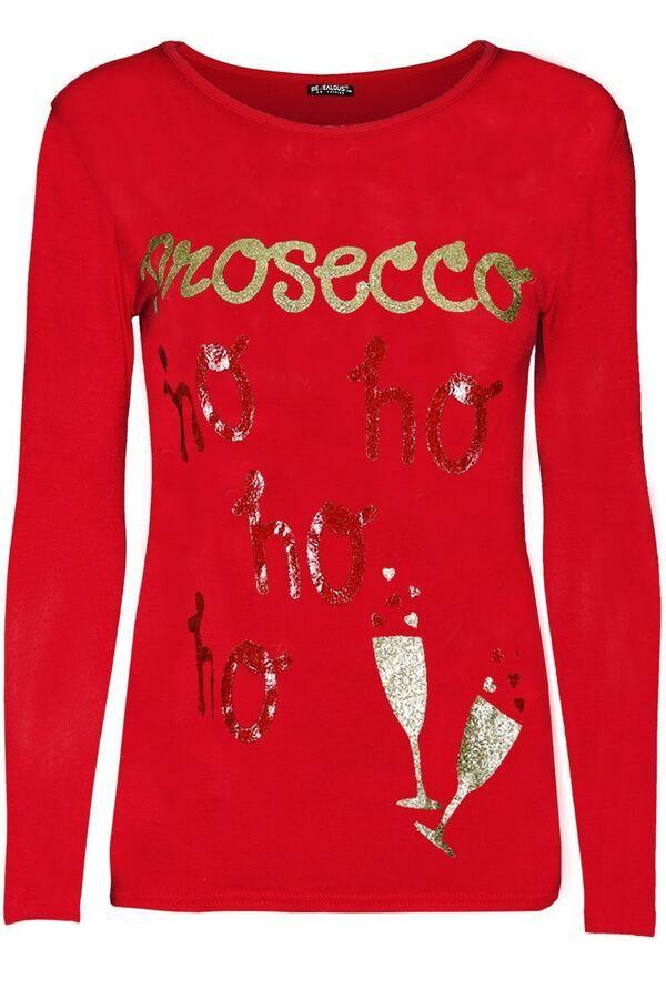 Womens long sleeve ladies christmas tree printed xmas stretchy fit top Tshirt RN