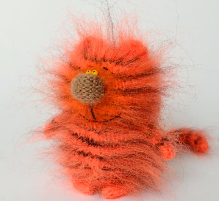 Tiger Cat - Hand-Knitted Amigurumi Toy Tiger Miniature Kitten Doll Kids toys Halloween red cat Black and Ginger Wool Cat Stuffed Wild animal by MiracleStore on Etsy https://www.etsy.com/listing/233918811/tiger-cat-hand-knitted-amigurumi-toy