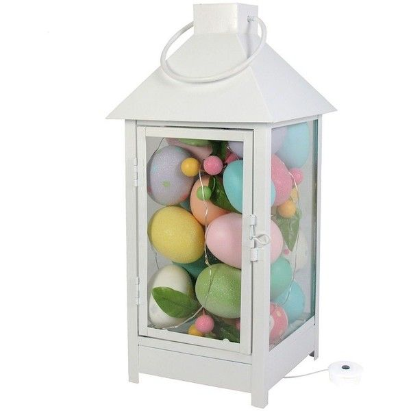 Celebrate Easter Together Light-Up Lantern Table Decor ($30) ❤ liked on Polyvore featuring home, home decor, holiday decorations, multicolor, colorful lanterns, battery powered lanterns, colored lanterns, colorful home decor and easter home decor