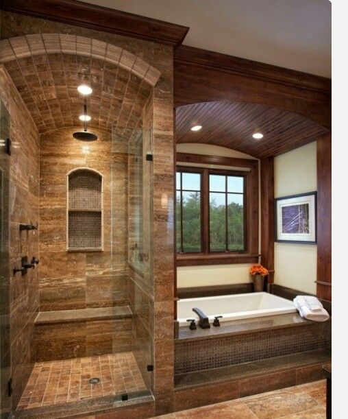 Custom stone shower tub wood enclosure competitive for Custom bathrooms