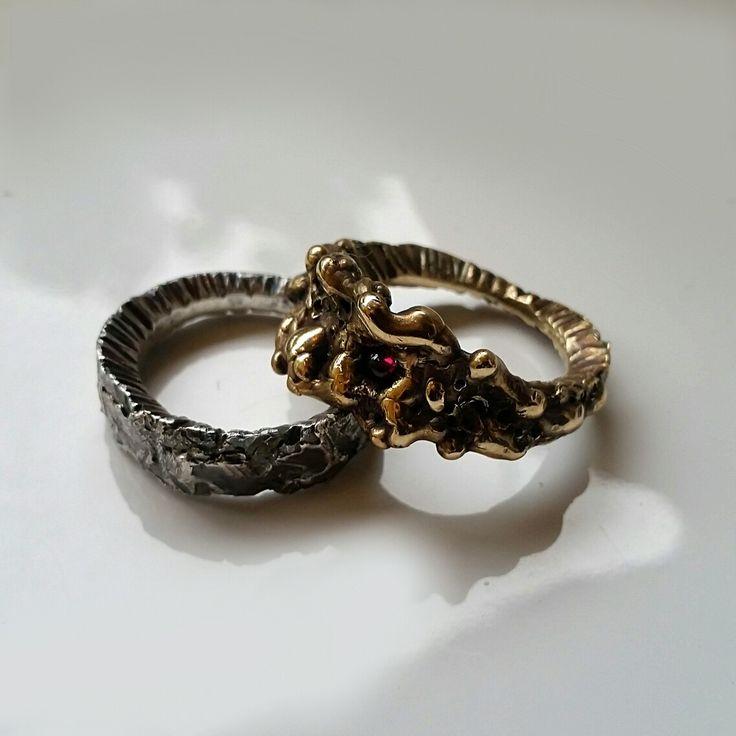 Skin Deep & Deep Tissue rings, sterling silver & brass with garnet cabochon. Handmade by Stephanie Rachael Jewellery