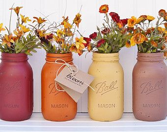 Fall Decor, Autumn Ombre Rustic Painted Mason Jars, Mason Jar Centerpiece,  Fall Wedding