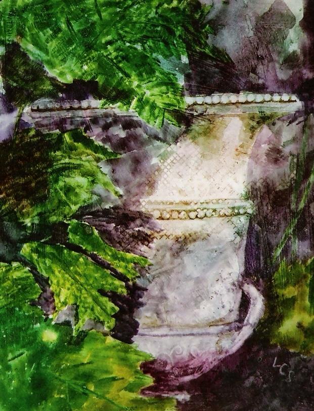 Scottish Urn - watercolour on gesso