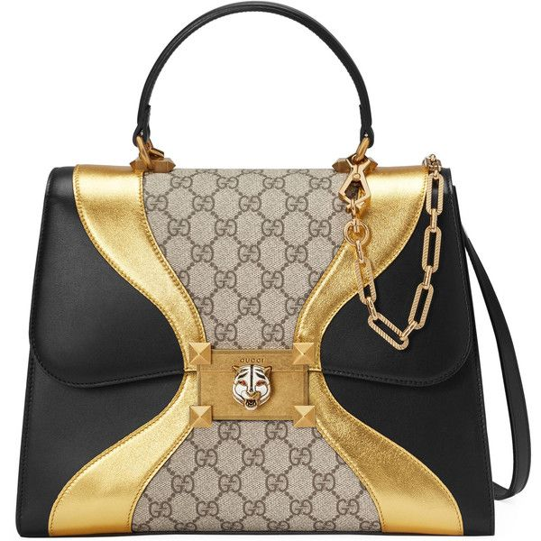 Gucci Gg Supreme And Leather Top Handle Bag ($2,890) ❤ liked on Polyvore featuring bags, handbags, gucci, borse, top handles & boston bags, women, gucci shoulder bag, leather man bags, hand bags and handbags shoulder bags