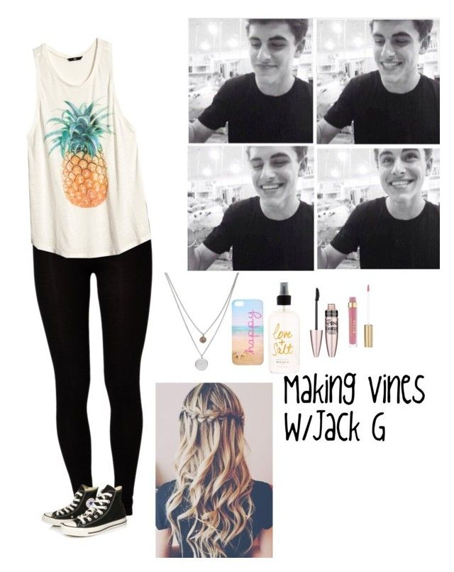 Making Vines w/Jack G by karenmahone on Polyvore featuring polyvore, fashion, style, H&M, Majestic, Converse, Kenneth Cole and Maybelline