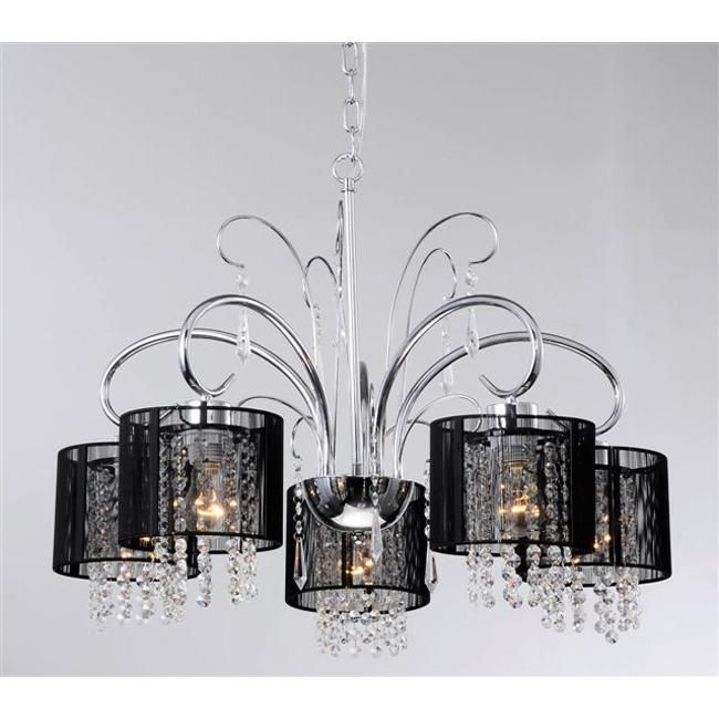 With its dramatic, contemporary design, this five-light chrome chandelier illuminates your home in style. Crafted with an elegant, curving base, the chandelier features black shades and drop crystals that create an eye-catching decor accent.