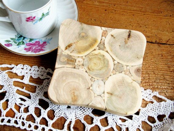 Juniper Wood Trivet, Flower, Natural Handmade Coaster, Rustic Home Decor, Wooden Kitchen Utensil, Untreated Wood by NaturalHomeTreasures on Etsy, $14.00