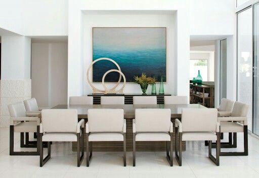 Peaceful, minimal dining room