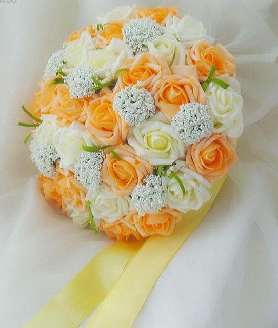 2016 Purple and White Wedding Bouquet Handmade Artificial Flower Rose buque casamento Bridal Bouquet for Wedding Decoration