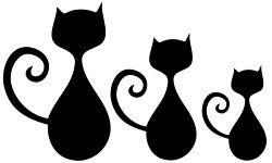 Michas Stoffecke - Velours-Motiv - 3 Katzen schwarz A-VJP-161-Z