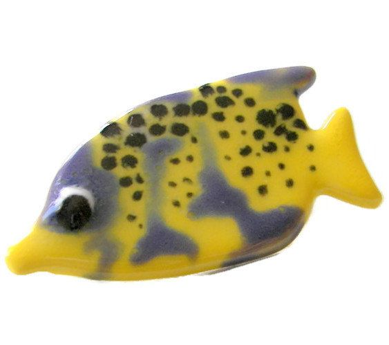 Smiling Fish Pin Yellow and Purple Fish Pin by SeagullSmithJewelry
