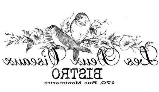 ". Vintage bird french printable ""the two birds"", ""les deux ouiseaux"" bistro"
