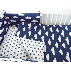 Ochraniacz do łóżeczka Biało Granatowy - chmurki gwiazdki