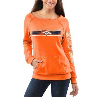 Womens Denver Broncos Pro Line Orange Boatneck Fleece Sweatshirt ...