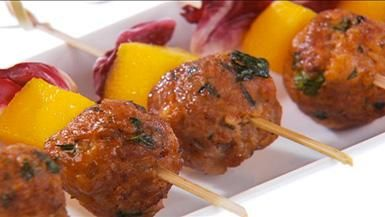 Giada De Laurentiis - Mini Meatballs with Raspberry-Balsamic Barbecue Sauce recipe