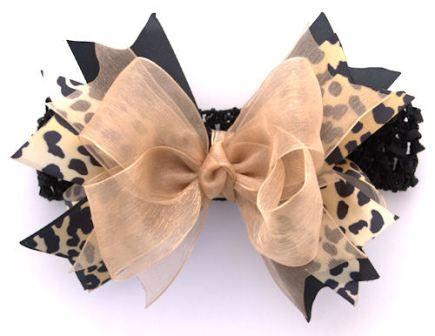 Cheetah Sparkle Gold Couture Hair Bow Headband  thegirlybaby.com