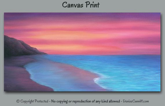 Sunset Seascape Painting Canvas Art Print Coral Teal