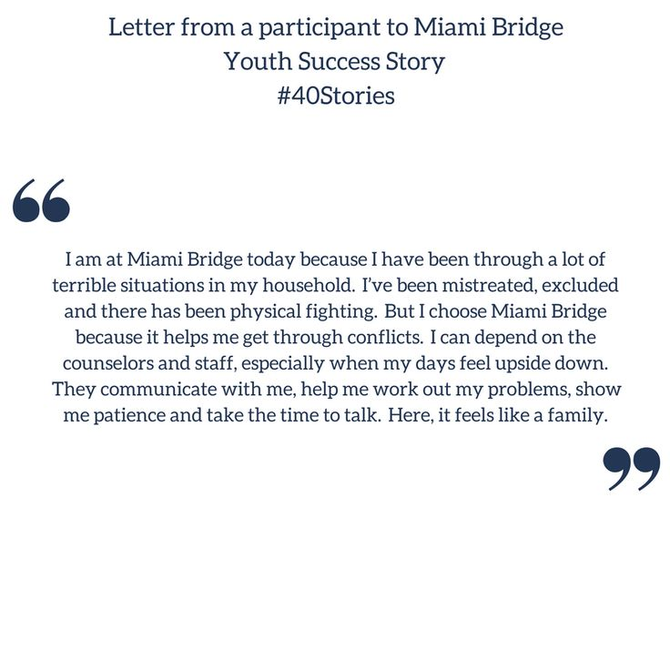 Read about this participant's success story with @MiamiBridge that helped them with their struggling home life! #40Stories