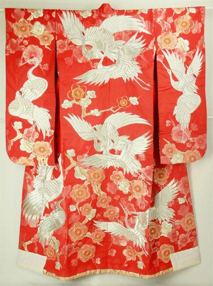 Uchikake wedding kimono / 結婚式花嫁衣裳 緋赤地 飛鶴梅花の刺繍柄 打ち掛け #Kimono #Japan http://global.rakuten.com/en/store/aiyama/