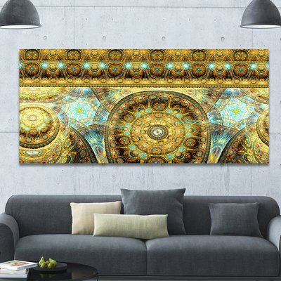 """DesignArt 'Brown Extraterrestrial Life Cells' Graphic Art on Wrapped Canvas Size: 28"""" H x 60"""" W x 1.5"""" D"""