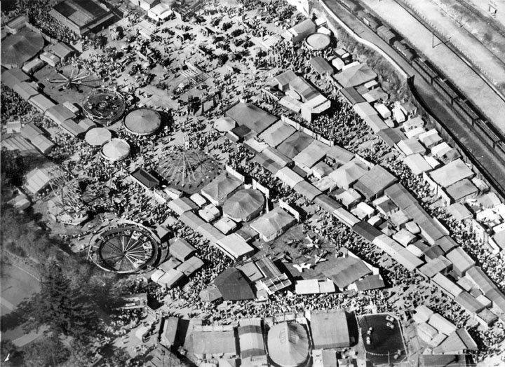 Aerial view of the side-show area at the Ekka in 1958 #Brisbane