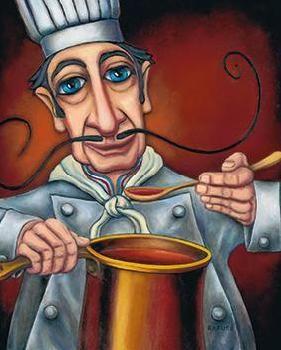 Will Rafuse - Gustavo - the Chef - blue eyes, extra long mustache, ladle, sauce