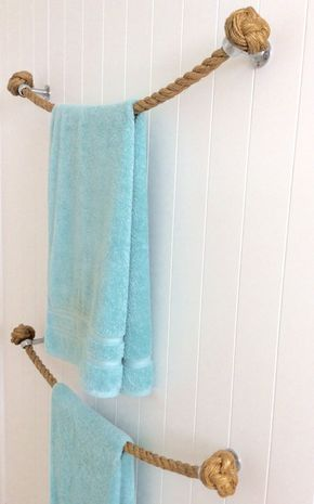 ROPE TOWEL HOLDER Rail handmade with natural Manila rope for bathroom or kitchen