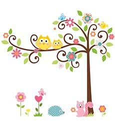 73-Piece Repositionable Scroll Tree Wall Stickers Set