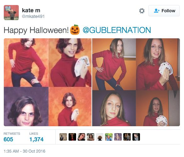 This girl who went as the best celebrity meme of all time, Matthew Gray Gubler. | 18 Celeb-Inspired Halloween Costumes That Totally Nailed It This Year