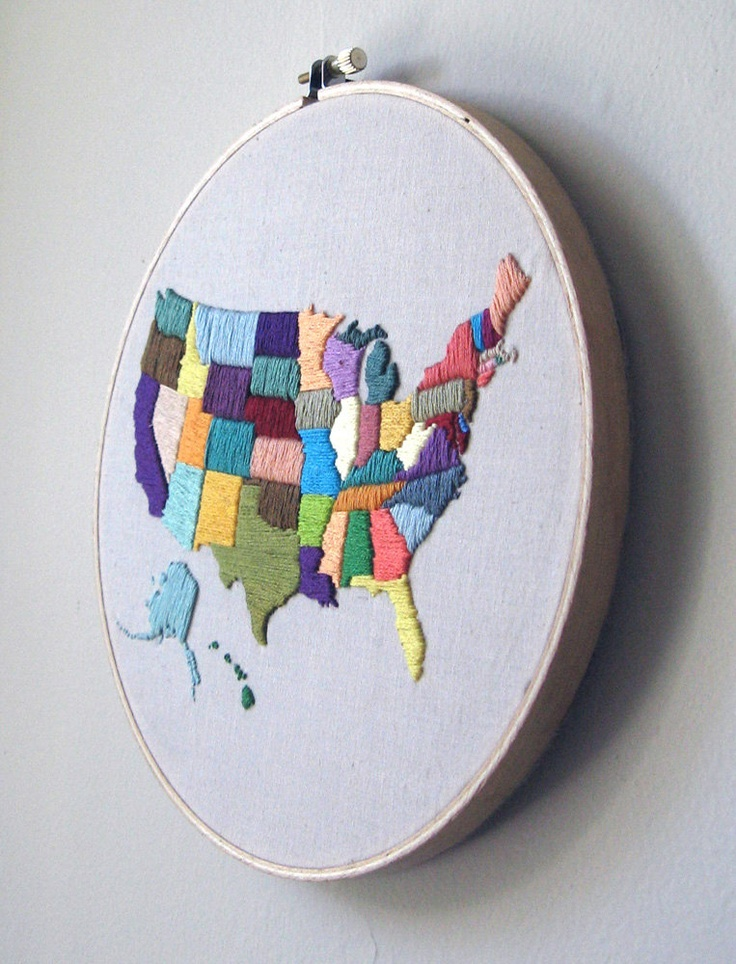 Hand Embroidered Map of USA Wall Hanging in Hoop. $94.00, via Etsy.    We could do something like this with the states we've been to. One color for Ry, one for me, and a mixture for the places we've both been.