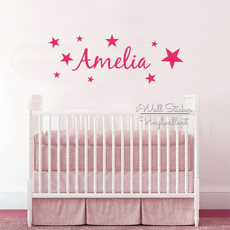 Stars Name Wall Sticker Children Name Wall Decal Baby Nursery Star Girls  Name Wall Decor Kids Part 87