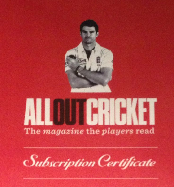 Your chance to get your hands on a 12 month subscription to ALL OUT CRICKET for a donation of £3 to Ro's Year On The Run for Mind. Please visit http://www.ro-runner.co.uk/competitions/ for information.