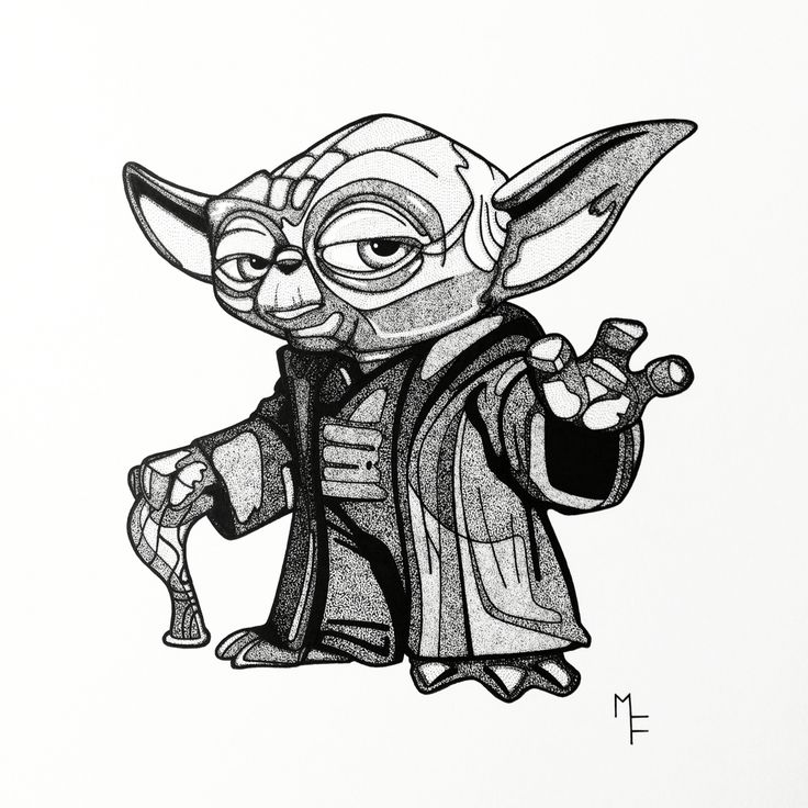 Line Art Yoda : Master yoda handmade illustration for christmas