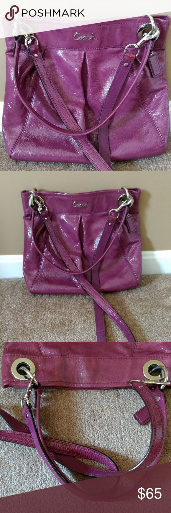 "Coach Ashley Purple Patent Leather Crossbody Bag Excellent condition, only one small dark spot on the back of the bag. see photo 5.    MSRP $298.00   Measures 11"" L x 12"" H x 2.5"" W   Patent Leather Exterior   Polished Nickel Hardware, including Script Logo on Front Exterior   Pleat Detailing   Cobalt Patent Leather Hangtag   Versatile! Can be Carried In-Hand, On-Shoulder, or Worn Cross-Body:  18"" Leather Strap with 8"" Drop  40"" Detachable Leather Strap with Dogleash Clips - 22"" Drop…"