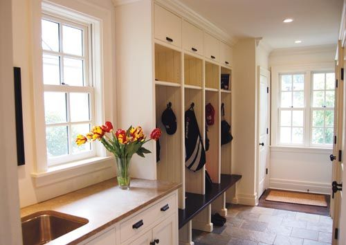 Mud room - not sure I'm seeing this right, but a utility sink in the mudroom is a great idea - place for mittens to dry and for everyone to wash hands when coming in the house.