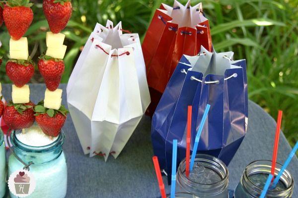 Paper bag lanterns from @Hoosier Homemade: Paper Bag Lanterns, Party Paper, Paper Lanterns, Diy'S, Paper Bags, 4Th July Red, July 4Th, Diy Lanterns, Diy Paper