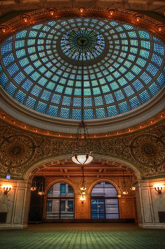 Worlds Largest Tiffany Dome, Chicago Cultural Center (Chicago Pin of the Day, 8/17/2014).