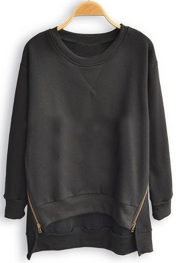 Black Batwing Long Sleeve Asymmetrical Pullovers Sweatshirt