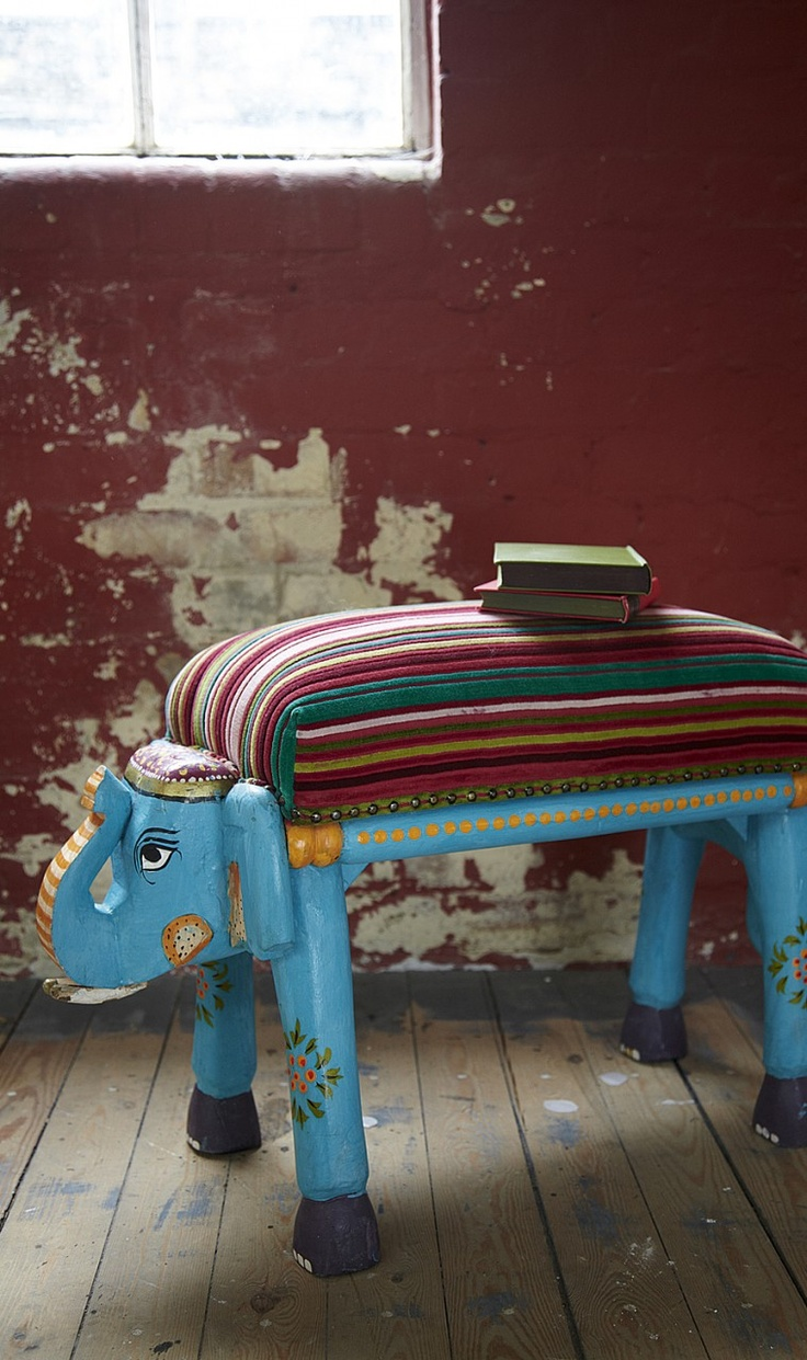 Ideas for hand painted chairs - Painted Elephant Stool No Tutorial Just Inspiration