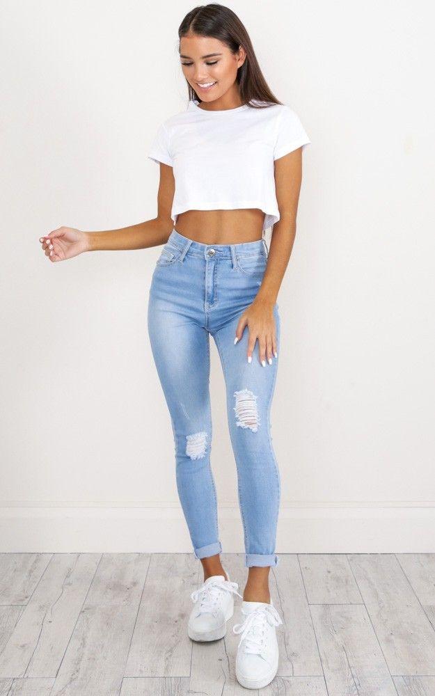 brooke skinny jeans in light wash denim. showpo. light wash.