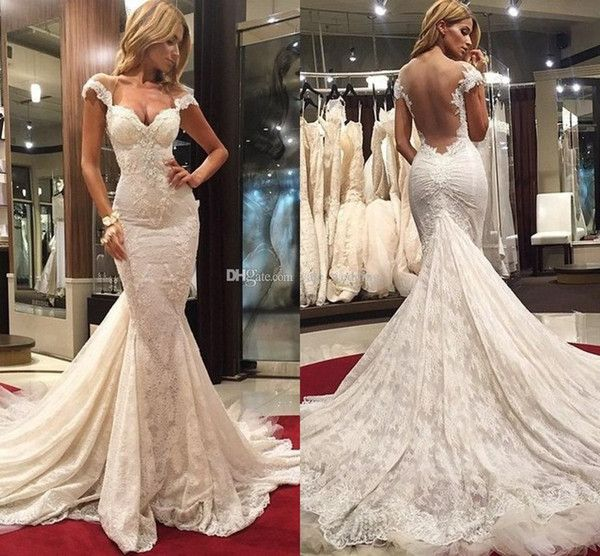 Cute  Sexy Mermaid Wedding Dresses Sweetheart Cap Sleeves Backless Lace Tulle Chapel Train Wedding Gowns