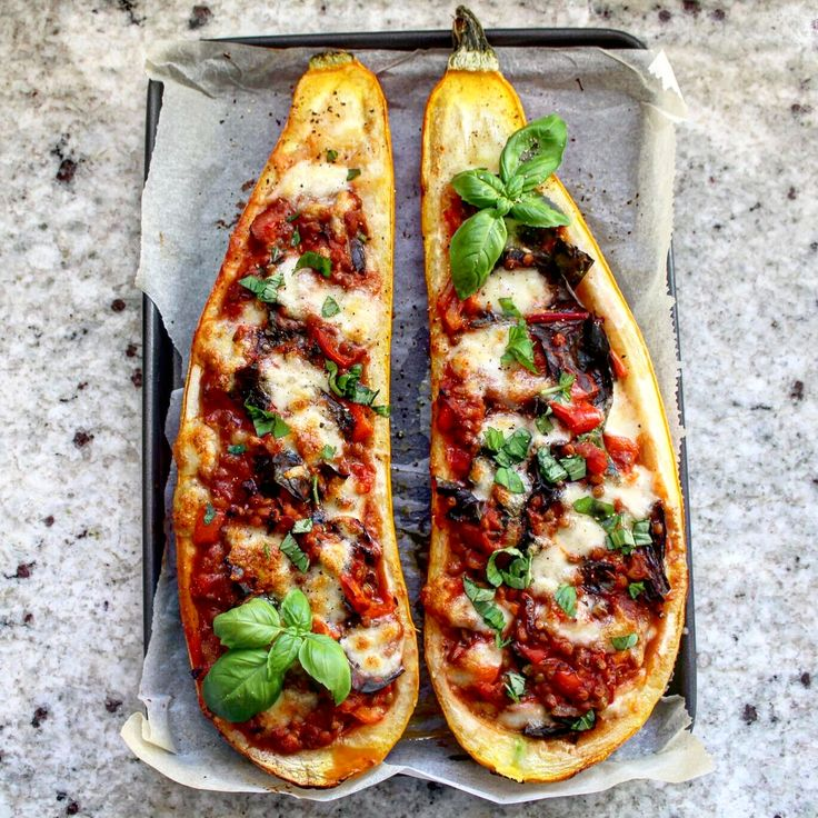 Veggie Stuffed Marrow, with Lentils and Mozzarella. Vegetarian | Meat Free | Veggie Delicious plant-based dinner.