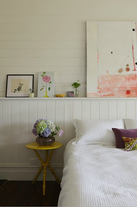 Chair rail above bed- what if it was done with reclaimed wood? desire to inspire - desiretoinspire.net - Dreaming of country