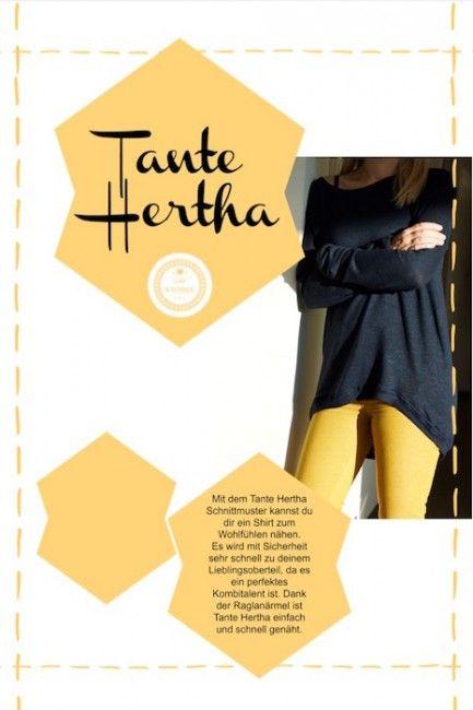 Tante Hertha - das Wohlfühl-Shirt - Ebook. Näh dir dein neues Lieblingsteil. Das Shirt ist ein echtes Kombinationstalent. Perfekt für jede Gelegenheit.