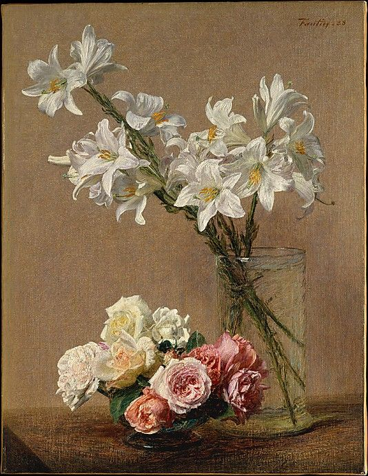 Roses and Lilies  Henri Fantin-Latour  (French, Grenoble 1836–1904 Buré)